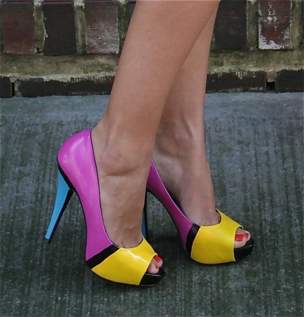 Color block heels Red, Nude + Black Color Block Shoes